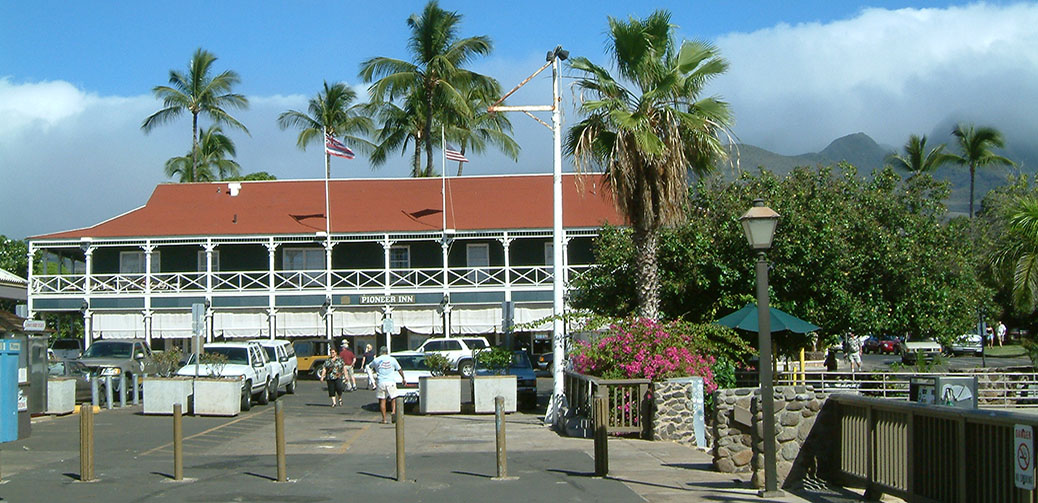 Lahaina. A Pastel Blue Clap Board Harbour