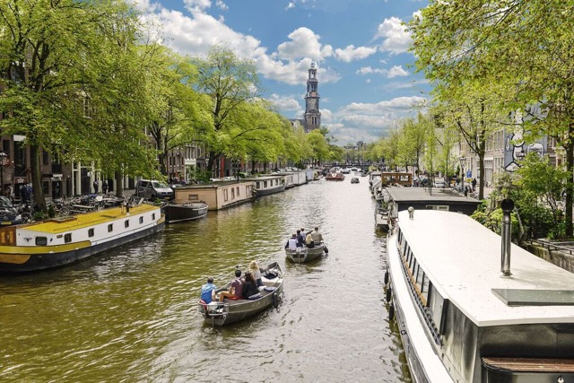 Canal Motorboats in Amsterdam