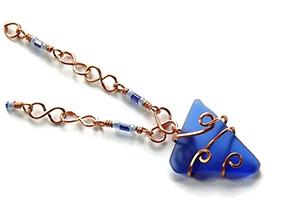 Stunning and Unique Copper Chain & Bead RiverGlass Pendant