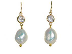 Stunning Naughton Braun Rudas Drop Pearl Earrings