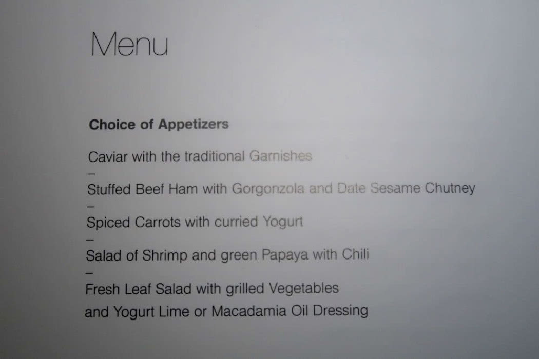 Review: Lufthansa First Class Food Menu