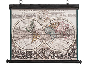 Pull Down Canvas & Antique Wood 18th Century Old World Map