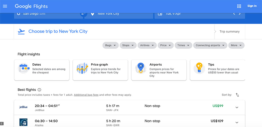 Cheap Transcontinental Flight: $99 To New York