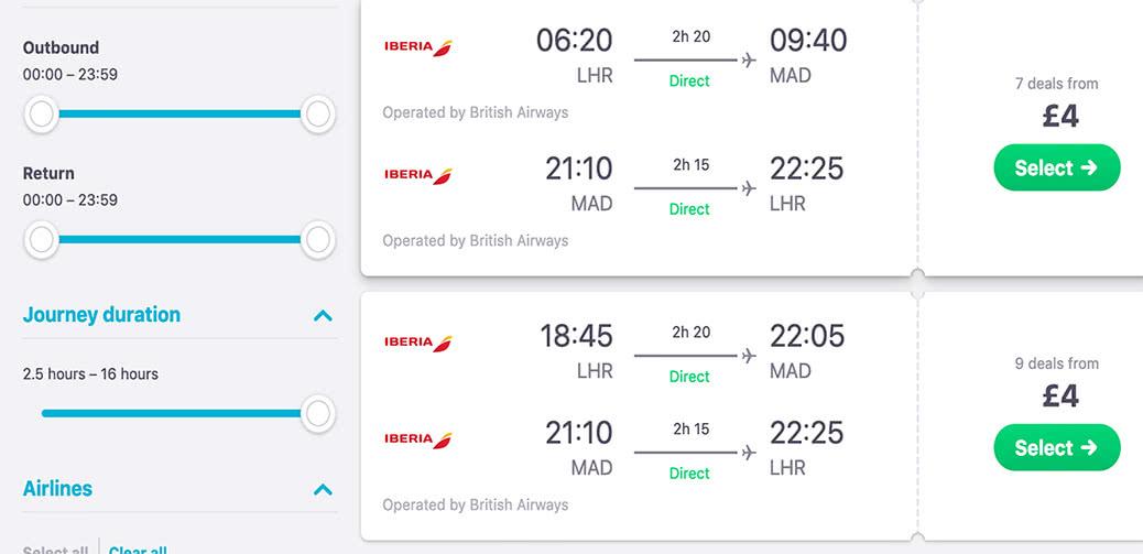 British Airways Mistake Fare: £4 London To Madrid Return